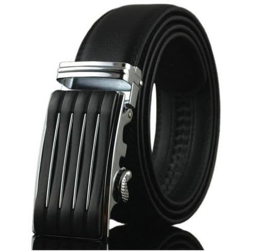 Belt Men's Black Cowskin Mens Leather Business Belts Auto Fashion Buckle Zabardo