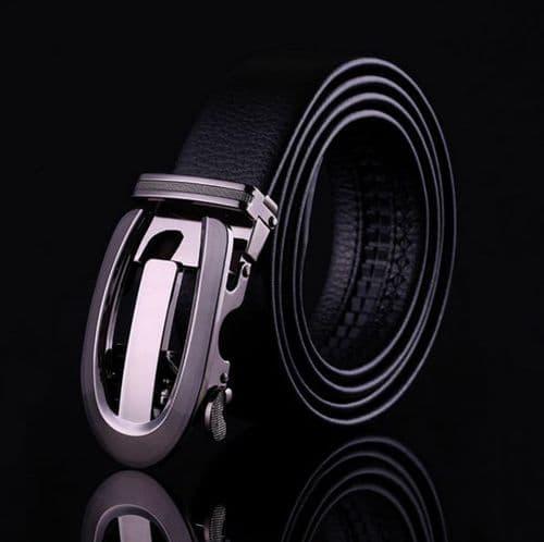 Belt Men's Black Genuine Leather Cowskin Designer Mens Belts Auto Buckle - Zabardo
