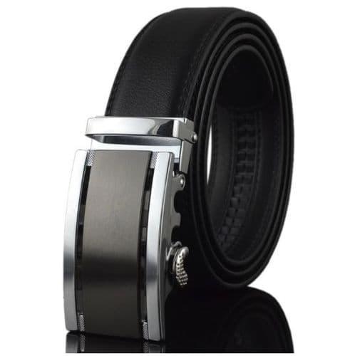 Belt Men's Black Genuine Leather Cowskin Mens Belts Abstract  Auto Buckle Black/Silver  - Zabardo