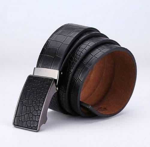 Belt Men's Black Genuine Leather Cowskin Mens Belts AutO Buckle Crocodile - Zabardo