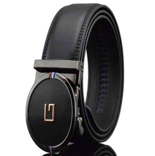 Belt Men's Black Genuine-Leather Cowskin Mens Belts Auto Buckle G Design - Zabardo