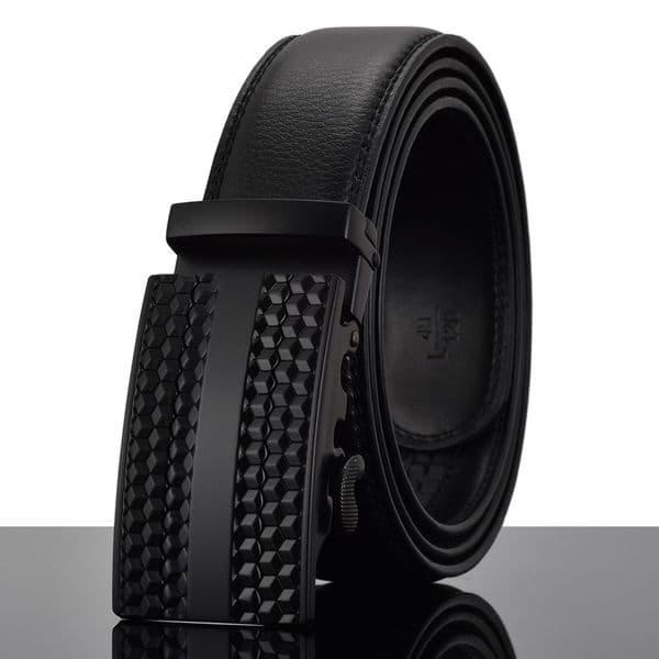 Belt Men's Black Genuine-Leather Cowskin Mens Belts Black Auto Buckle Zabardo