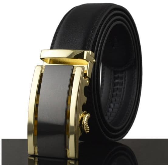 Belt Men's Black Genuine Leather Cowskin Mens Belts Designer Auto Buckle Black/Gold - Zabardo