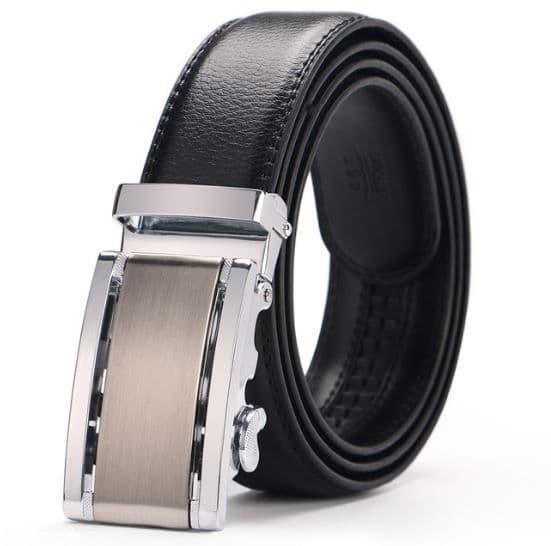 Belt Men's Black Genuine Leather Cowskin Mens Belts Designer Auto Buckle Silver - Zabardo