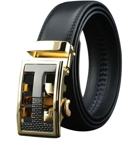 Belt Men's Black Genuine Leather Cowskin Mens Belts Designer Auto Buckle - Zabardo