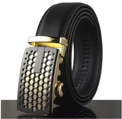 Belt Men's Black Genuine Leather Cowskin Mens Belts Designer Style Auto Buckle - Zabardo