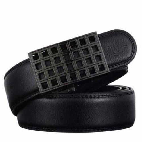Belt Men's Black Genuine-Leather Cowskin Mens Belts Grid Auto Buckle - Zabardo