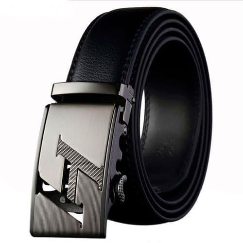 Belt Men's Black Genuine-Leather Cowskin Mens Belts H Auto Buckle - Zabardo
