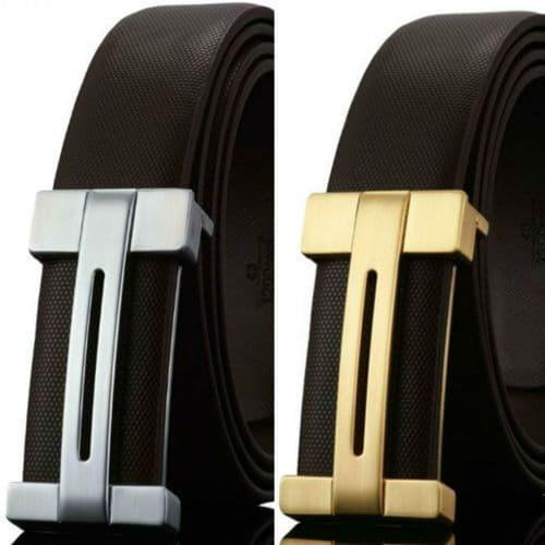 Belt Men's Brown Cowskin Leather Mens Fashion Belts  Smooth Buckle Zabardo