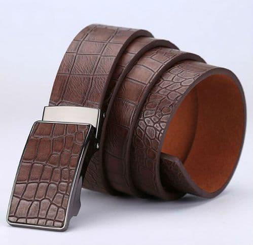 Belt Men's Brown Genuine Leather Cowskin Mens Belts Auto Buckle Crocodile - Zabardo