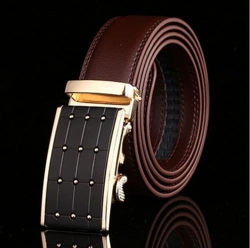 Belt Men's Brown Genuine Leather Cowskin Mens Belts Automatic Buckle Fashion - Zabardo