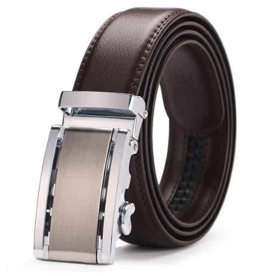 Belt Men's Brown Genuine Leather Cowskin Mens Belts Designer Auto Buckle Silver - Zabardo