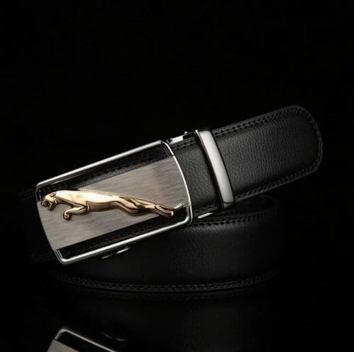 Belt Men's Cowskin Black / Brown Genuine Leather Belt Jaguar Gold/Silver Buckle  - Zabardo