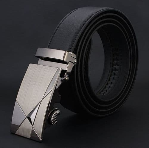Belt Men's Cowskin Black Genuine Leather Belt Abstract Automatic Buckle  - Zabardo