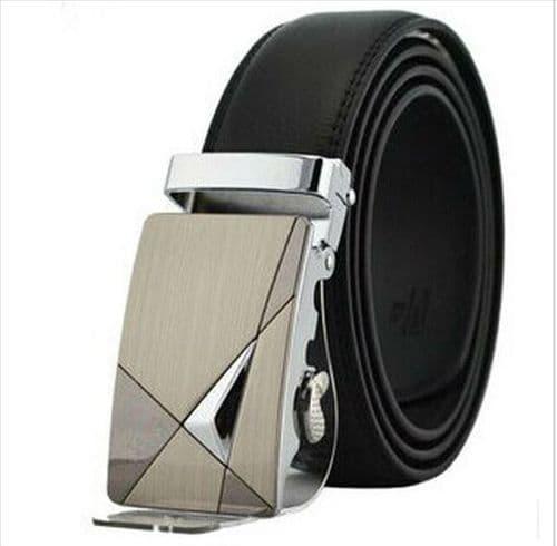 Belt Men's Cowskin Black Genuine Leather Belt - Auto Buckle Abstract Design