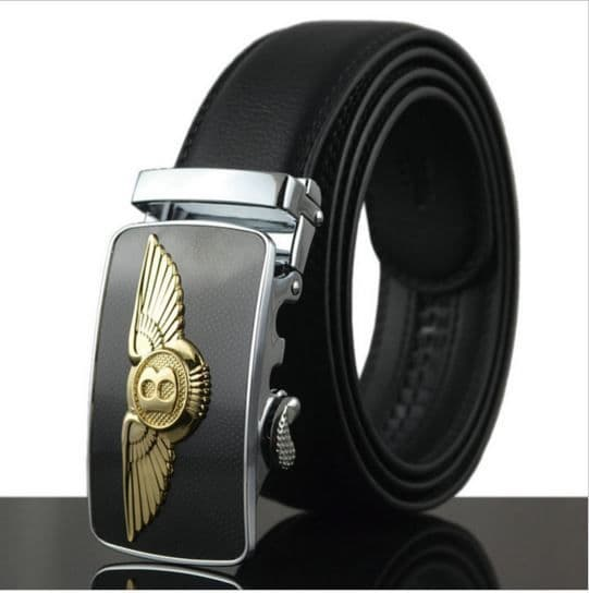 Belt Men's Cowskin Black Genuine Leather Belt - Auto Buckle Bentley Emblem