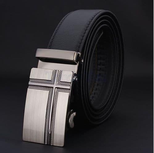 Belt Men's Cowskin Black Genuine Leather Belt - Auto Buckle Brushed Silver  - Zabardo
