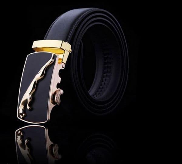 Belt Men's Cowskin Black Genuine Leather Belt Auto Buckle Gold Jag Emblem - Zabardo