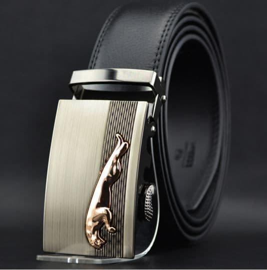 Belt Men's Cowskin Black Genuine Leather Belt - Auto Buckle Jag Emblem - Zabardo
