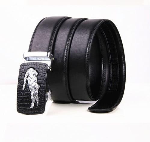 Belt Men's Cowskin Black Genuine Leather Belt - Auto  Buckle -Silver  Crocodile Logo - Zabardo