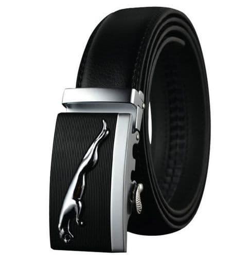Belt Men's Cowskin Black Genuine Leather Belt Auto Buckle Silver Jag Emblem - Zabardo