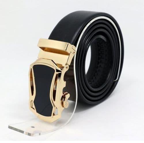 Belt Men's Cowskin Black Genuine Leather Belt - Auto Gold & Black Buckle  - Zabardo