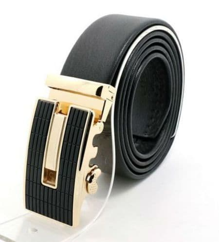 Belt Men's Cowskin Black Genuine Leather Belt - Auto Gold & Raised Black - Zabardo