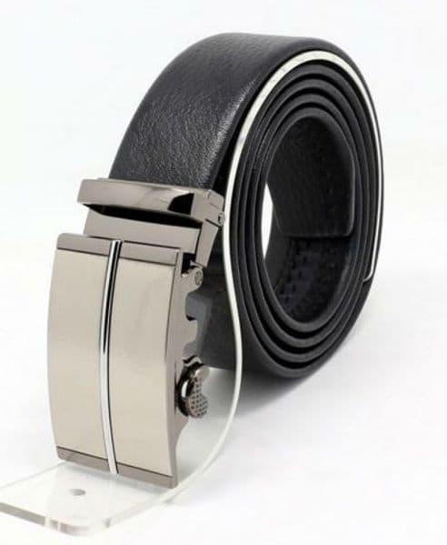 Belt Men's Cowskin Black Genuine Leather Belt - Auto Silver Abstract Buckle zABARDO