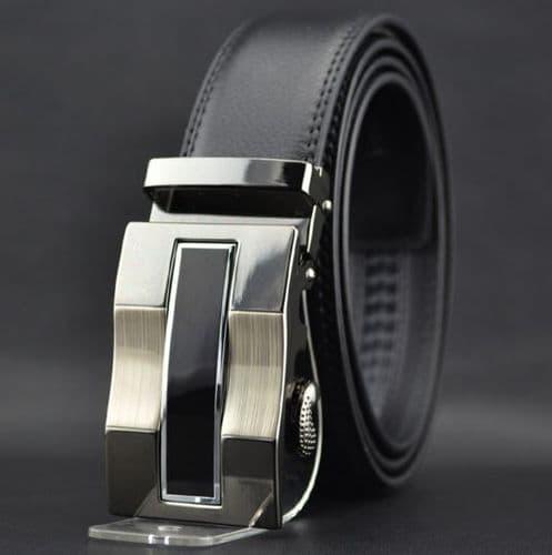 Belt Men's Cowskin Black Genuine Leather Belt - Automatic Buckle Black & Silver New