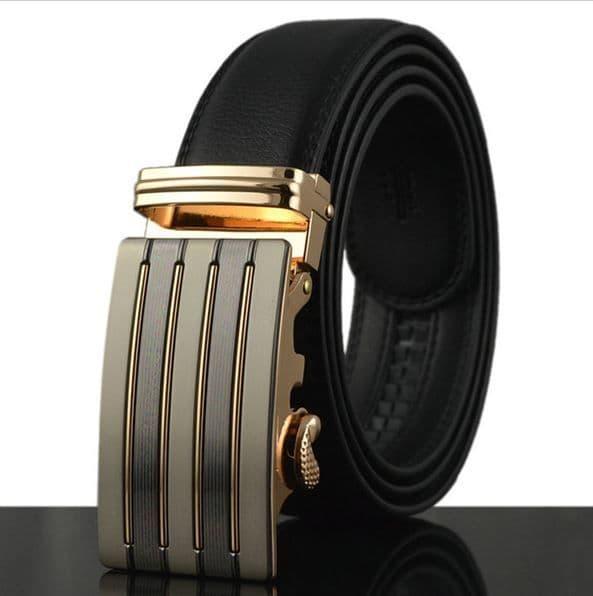 Belt Men's Cowskin Black Genuine Leather Belt - Automatic Buckle - Zabardo