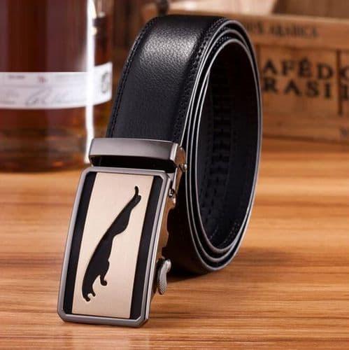 Belt Men's Cowskin Black Genuine Leather Belt Jaguar Copper Shadow Buckle  - Zabardo.com