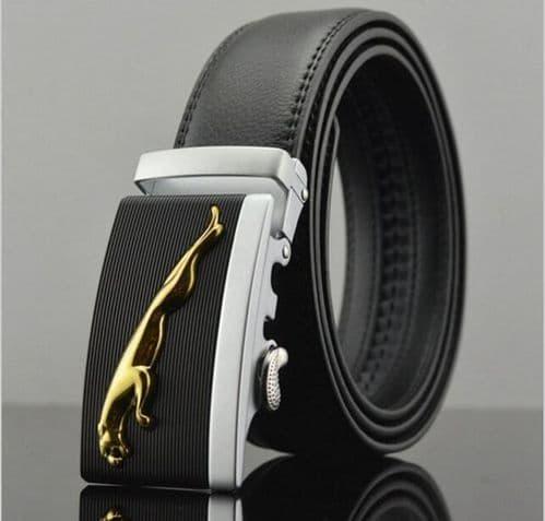 Belt Men's Cowskin Black Genuine Leather Belt Jaguar Gold/Silver Buckle  - Zabardo