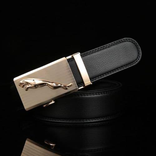 Belt Men's Cowskin Black or Brown Genuine Leather Belt Jaguar Gold/Silver Buckle  - Zabardo (1)