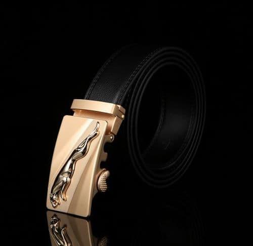 Belt Men's Cowskin Black or Brown Genuine Leather Belt Jaguar Gold/Silver Buckle  - Zabardo (2)