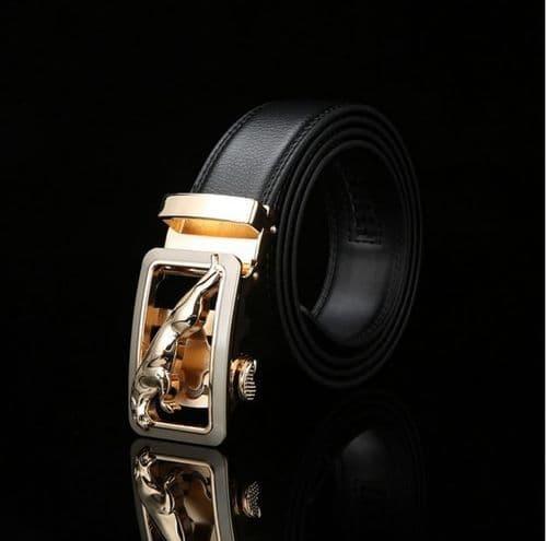 Belt Men's Cowskin Black or Brown Genuine Leather Belt Jaguar Gold/Silver Buckle  - Zabardo