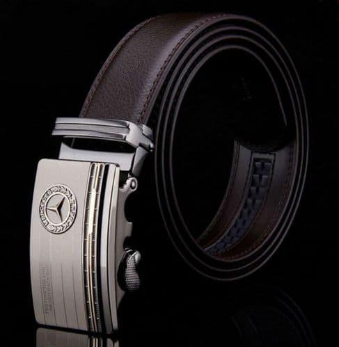 Belt Men's Cowskin  Genuine Leather Belt - Auto Buckle - Merc Logo  Zabardo