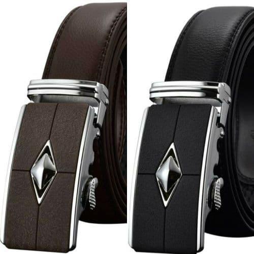 Belt Men's Cowskin Leather Mens Belts Business Dress Auto Buckle Zabardo