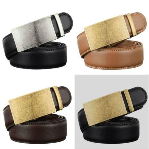 Belt Men's Cowskin Leather Mens Belts Business Vintage Auto Buckle Zabardo