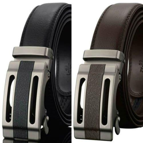 Belt Men's Cowskin Leather Mens Dress Belts Business Auto Buckle Zabardo