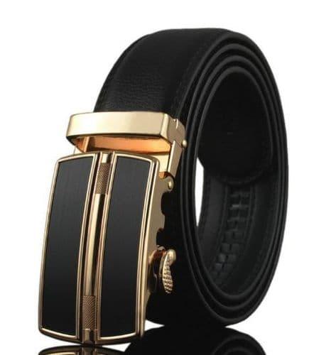 Belt Men's Genuine Leather Black Cowskin Black/Gold Automatic Buckle - Zabardo