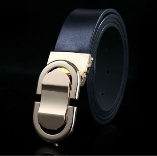 Belt Men's Genuine Leather Black Cowskin Designer Gold Pin Buckle Menswear - Zabardo