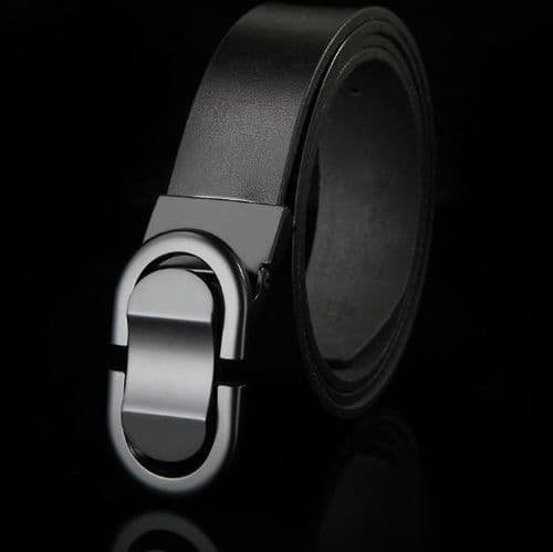 Belt Men's Genuine Leather Black Cowskin Designer Graphite Pin Buckle Menswear - Zabardo