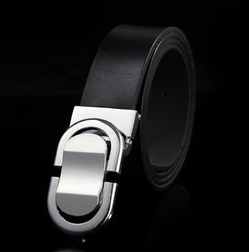 Belt Men's Genuine Leather Black Cowskin Designer Silver Pin Buckle Menswear - Zabardo