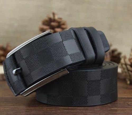 Belt Men's Genuine Leather Black Embossed Cowskin Pin Buckle Menswear - Zabardo