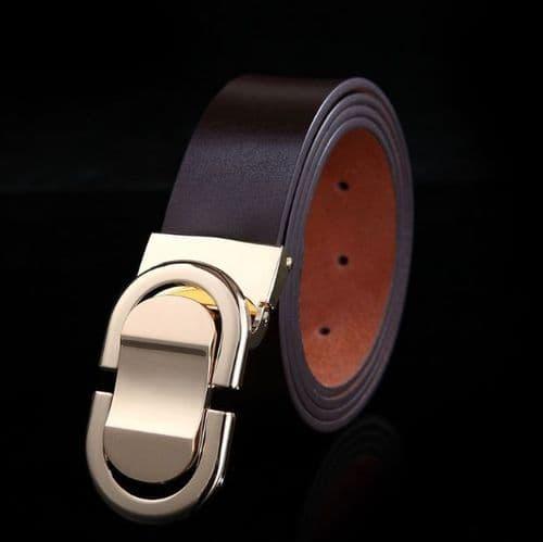 Belt Men's Genuine Leather Brown Cowskin Designer Gold Pin Buckle Menswear - Zabardo
