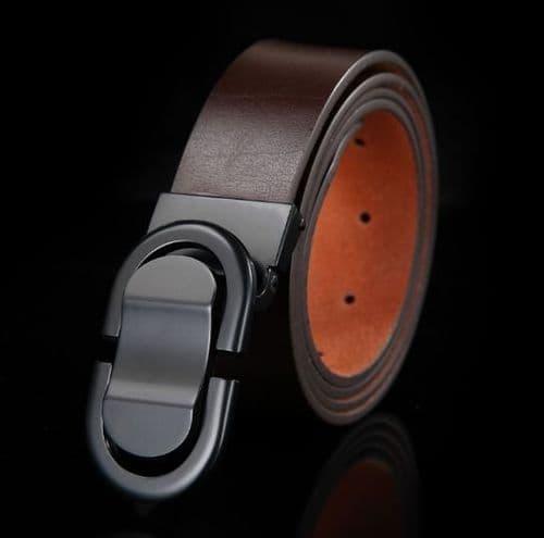 Belt Men's Genuine Leather Brown Cowskin Designer Graphite Pin Buckle Menswear - Zabardo