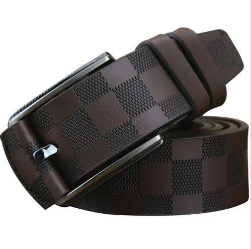 Belt Men's Genuine Leather Brown Embossed Cowskin Designer Pin Buckle Menswear - Zabardo