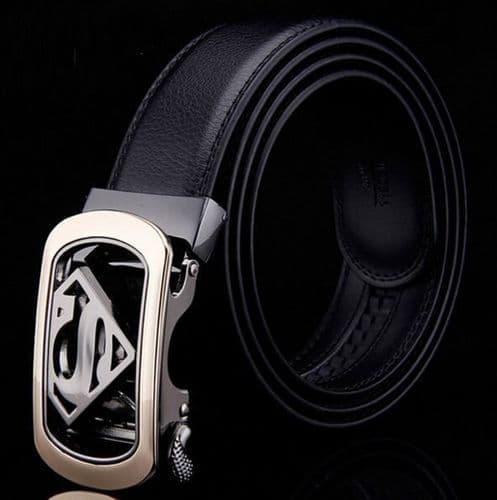 Belt Men's Genuine Leather Cowskin Black Superman Logo Auto Buckle - Zabardo