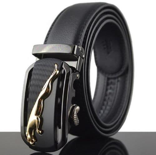 Belt Men's Leather Cowskin Black Mens Belts Car Brand Auto Buckle Jaguar - Zabardo