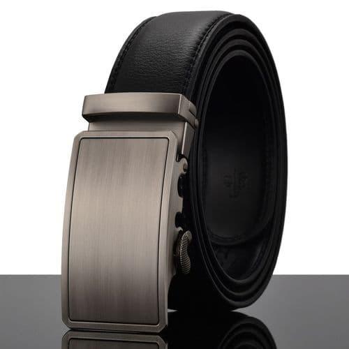 Belt Men's SS Buckle Genuine Leather Cowskin Mens Belts Auto-Buckle Zabardo